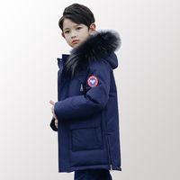uzun parka oğlan toptan satış-Çocuk Aşağı Yastıklı Genç Giyim Büyük Erkek Kış Ceket Parkas Sıcak Uzun Kalınlaşma Giyim Giyim 8 10 12 14 Yıl
