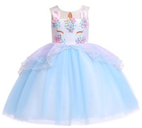 colores de vestuario al por mayor-1pcs 2019 Girls Unicorn Costume Tulle Princess Tutu Dress 5 colores sin mangas Fiesta de cumpleaños Fancy Wedding Dresses Easter Kids boutique