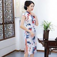 e859e9beefb6f5 2019 Sommer Knielangen Cheongsam Traditionellen Chinesischen stil Kurzarm  Kleid Womens Rayon Qipao Dünne Party Kleider Vestido