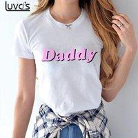 baba tişört toptan satış-Baba Mektuplar Baskı Kadın T Shirt Pamuk Rahat Komik T Shirt Lady En Tee Hipster Beyaz Dropshipping Için