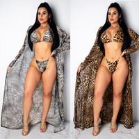 vestido de una pieza sexy de playa al por mayor-Sexy venda leopardo impresa Bikini 3 piezas Un conjunto 2019 Coverups Conjuntos Bikini Vestido de playa Traje de baño Traje de baño + Traje de baño de manga larga Conjunto