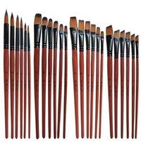 ingrosso i capelli della vernice acrilica-6 pezzi di nylon manico in legno di diverse dimensioni acquerello acrilico set di pennelli per pittura ad olio per pittura
