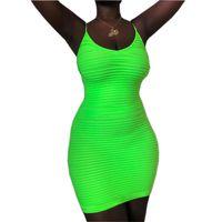Wholesale fashion dress online - Fluorescent Green Women Tank Dress Summer Fashion Bodycon Sheath Spaghetti Strap Dresses