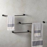 percheros al por mayor-Toallero de baño de aluminio negro Toallero Barras de baño Ropa Rack Accesorios de baño