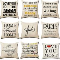 Wholesale english decor resale online - Letter Print Sofa Throw Pillowcase Cotton Linen English Letter Words Pillow Cover Single side Print Bed Decor Pillow Cushion Case BH3009 TQQ