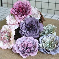 Wholesale peony gifts for sale - Group buy 30Pcs special looking open peonies silk Artificial flower heads for Christmas gifts DIY decoration Wreath Fake Flowers