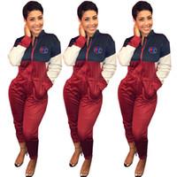 gövde pantolonu tulumlar toptan satış-Şampiyonu Patchwork Tulum Kadın Bahar Tulum Uzun Kollu Fermuar Turn Down Yaka Vücut Takım Tulum Bir Piec Pantolon Sprot Eşofman C328