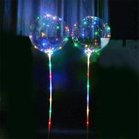 ingrosso palloni palloncini-Palloncini luminosi a LED BOBO con illuminazione lampeggiante Palloncini luminosi trasparenti con decorazioni per feste di matrimonio con palloncino da 70 cm Palo 3M