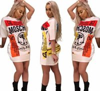 x vestido sin espalda al por mayor-2018 Nueva Moda Impreso de Dibujos Animados de Las Mujeres Camisetas Vestido de Manga Corta de Las Mujeres Tops O Cuello Diseño Largo Camisetas Estilo de Verano