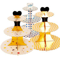ingrosso tre stand a livello-16 Styles Cake Stands Three Tier Pieghevole in carta da stampa in legno Compleanno Dessert Rack Decorazione del partito Vendita calda 5 45wcE1