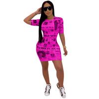 yüksek yuvarlak boyun elbise toptan satış-Kadın Vintage Gazete Baskı Sıska Elbise Bodycon Kısa Kollu Yuvarlak Boyun Bodycon Mini Elbise Gece Kulübü Parti Diz Yüksek Elbiseler C71106