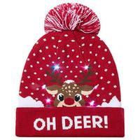 ingrosso albero si accende-2019 Novità LED Christmas Beanie Brutto maglione di Natale Albero Beanie Light Up cappello lavorato a maglia per bambini adulti