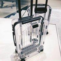 nouveau coffre à bagages achat en gros de-Nouvelle valise transparente avec roue, boîte de rangement 20 pouces, coffre de mode 24 pouces, valise trolley porte-documents, sac de voyage à roulettes