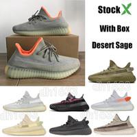 zapatos planos verdes en línea al por mayor-Con CAJA STOCK X Kanye West 350 Zapatillas de running para hombre Mujer Trfrm Static Reflective Lundmark Antlia Hombre Diseñador Zapatillas de deporte Tamaño 36-48