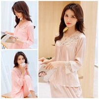 Wholesale women s clothing nightwear online – Spring And Autumn Pajamas V Collar Lace Thin Section Simplicity Long Sleeved Trousers Women Nightwear Home Clothing ym E1