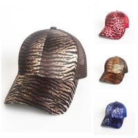 leopar topları toptan satış-Popüler Topu Hayvan Desenli Leopar Baskılar Ayarlanabilir Snapbacks Mesh Çift Beyzbol Şapka Güneş kremi Çoklu Renkler 15 5my E1 Caps