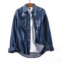herren blaue jeanshemden großhandel-Tops Mens Designer Washed Vintage Denim Shirts Slim Fit Zerrissene Langarm Dunkelblaues Two-Pocket-Baumwoll-Casual-Jeans-Hemd NJ0103