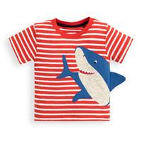 adrette tshirts großhandel-Kidsalon Jungen T Shirt Baumwolle Kind Kleidung Sommer 2019 Neue Casual Jungen Tops Baby Shark Tiere Stickerei Boy T-Shirts Kinder Kleidung