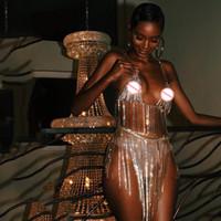 kristallketten für kleider großhandel-Luxus Nachtclub Sets Sexy Metall Kristall Diamanten Kette Frauen Pailletten Kleid Zwei Stücke Set 2018 New Gold Silber Dropshipping