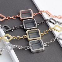 pulseiras flutuante locket venda por atacado-5 PCS, 24 * 24mm strass pulseiras de vidro quadrado medalhão flutuante fit encantos medalhão flutuante, sl005