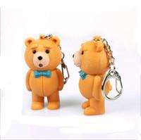 niña de osos de peluche al por mayor-Teddy Bear Led Llavero con Sonido Lindo pequeño Teddy Bear Modle Llavero Niños Niñas Linterna llavero Amantes Bolsa de Coche Titular de Regalo Llavero
