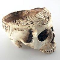 sebze tohumları bonsai toptan satış-Çevre Dostu Odası Dekoratif Reçine İnsan Kafatası Tohumlar Çiçek Saksı Saksı İskelet Bonsai Kıyma Sebzeler Konteyner W28138