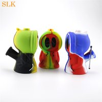 Wholesale ghost bongs resale online - Dry Flower Dab Straw Glass Hand Pipes Ghost hookah shisha silicone water bong inch bubbler pipe smoking accessories