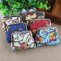 sevimli baykuş cüzdanları toptan satış-Kadın Sevimli Renkli Baykuş Baskılı Sikke çanta Cüzdan Tuval Kılıfı Para Çantası Bez Çanta Para Cüzdan