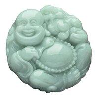 Wholesale buddhist jade online - Fine Jewelry Jadeite Buddhist Mercy hand carved Lucky Happy laughter Maitreya Buddha Necklace pendant Amulet Pendant