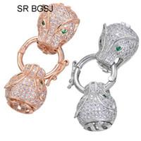 ingrosso connettori di gioielli animali-Spedizione gratuita 5PCS 14x38mm prezzo di fabbrica micro intarsio zircone gioielli rendendo animale testa connettore fibbia