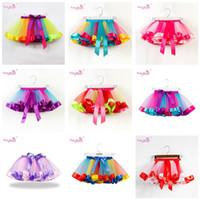 Wholesale toddler s resale online - Girls Rainbow Tutu Skirt Tulle Dance Ballet Dress Toddler Rainbow Bow Mini Pettiskirt Party Dance Tulle Skirts Dresses S L Colors