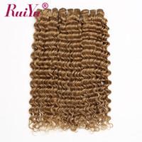 pelo humano de onda profunda 27 al por mayor-Honey Blonde Bundles Deep Wave Brazilian Hair Weave Bundles # 27 Color peruano de Malasia Indian Virgin Hair 100% Extensiones de cabello humano