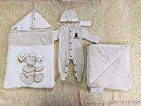 ingrosso modelli vestiti per bambini-Nuovo modello Baby Pagliaccetti Designer bambini Stripes Risvolto maniche lunghe Tute Neonate Lettera ricamo Cotone pagliaccetto Boy abbigliamento