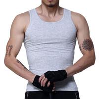 homens tanques tops cinza venda por atacado-Mens Tops de Moda 100% Algodão Sem Mangas Undershirts Para Tanques de Musculação Masculino Tanque Branco Cinza Casual Colete de Verão