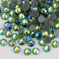 piedras de cristal para la ropa al por mayor-8 8 grandes pequeña luz verde cristalino del AB Rhinestones calientes del arreglo piedras de cristal espalda plana Strass Hotfix Piedras Para Ropa, vestido