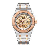 последние часы из стали оптовых-Новейшие модные мужские часы Diamond механические часы 43мм из нержавеющей стали водонепроницаемые полые механические часы оптом