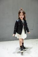 pu jacken für kinder großhandel-Neue Baby Mädchen Kleidung Langarm Kinder Jacke Mode Pu-leder Kinder Outwear Frühling Mantel Solide Mädchen Jacken