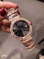 casos de marcadores al por mayor-33MM Quartz Black Dial Womens Bracklet Relojes 316L Caja de acero inoxidable Gold Diamond Bezel y Mother of Pearl Dial Index Time Marker