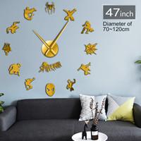 ingrosso orologi adesivi bambini-Spider Superhero Giant Wall Clock Spidey Wall Art Home Decor Kid Room Sticker fai da te Comic Large Clock