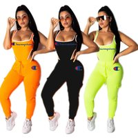 Wholesale yoga pant bodysuit for sale - Group buy Champions Women Two Piece Outfits Letter Embroidered Tracksuit Scoop Neck Bodysuit Long Slim Pant Set Piece Yoga Sports Clothes Orange