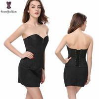 elbiseler fermuarlı kapatma toptan satış-Şerit Korse Elbise Suit Ön Fermuar Kapatma Büstiyer Etek Ile Ofis Lady Dış Giyim Siyah Artı Boyutu Korse Kadınlar Günlük Korset