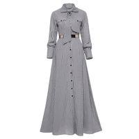 xl длина длинное платье втулки оптовых-Женщины полосатое платье макси длиной до пола, бантом галстук с длинным рукавом, свободная пуговица платье весна карман элегантный A-Line повседневная длинное платье Y19041001