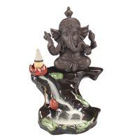 décoration fumée achat en gros de-Pourpre Sable Décor À La Maison Ganesha Éléphant Fumée Backflow Encensoir Éléphant Bâton Porte-Encens pour Odeur Parfum Décoration