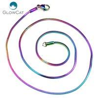 edelstahl quadratische verbindung großhandel-5 teile / los Regenbogen Colol Square Snake 1.4mm Edelstahl Ketten Halskette 18 '' 20