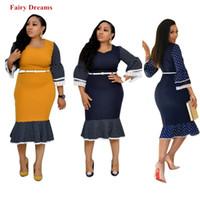 ropa de dama azul al por mayor-Vestidos africanos Mujeres Azul Amarillo Punto África Ropa Dashiki Lápiz Vestido Elegante Oficina Señoras Kanga Ropa Sueños de Hadas