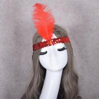 accessoires pour robe à paillettes achat en gros de-Chic Plume Hairband Flapper Sequin Bandeau Robe Danse Partie Tête Décoration Costume Accessoires Expédition Rapide QW9470