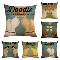 ingrosso cuscino rosso cane-Cane e Red Wine Cup Home Cuscino Decorativo Lino Federa Quadrato 18