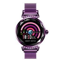 mejor reloj de ritmo cardíaco al por mayor-La más nueva moda H2 reloj inteligente de las mujeres 3D Diamond Glass frecuencia cardíaca Presión arterial Sleep Monitor El mejor regalo Smartwatch