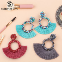Wholesale tassel earring hoop for sale - Group buy 2019 Vintage Ethnic Bohemian Tassel Dangle Earrings for Women Handmade Long Fringed Crystal Beaded Hoop Drop Earring Statement Jewelry Gift