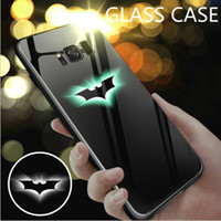Wholesale black white purple paintings resale online - Luminous Light Tempered Glass Phone Case for iPhone XS Max XR S Plus Cases Night Light Painting TPU Back Cover Shell For Samsung S10